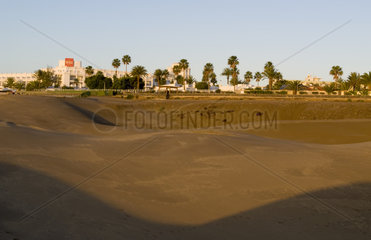 Sand Dunes all over in Gran Canarias in Maspalomas in Canary Islands Spain