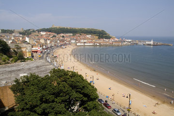 Aerial photos of beautiful beach from above of tourist town of Scarborough England in North Yorkshire