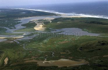 Texel  aerial view the estuarium of nature reserve de slufter