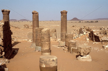 Sudan  Musawwarat. Ruins of the Merotic temple at Musawwarat es-Sufra. This temple complex  called the Great Enclosure   lies south of Meroë near the Sixth Cataract. It may have been a pilgrimage center or a royal palace during the Kingdom of Kush at Mer
