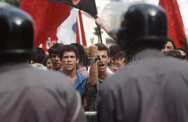 Rio de Janeiro  Brazil. Demonstration against privatization of public companies. Students x Police.