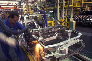 Sao Paulo  Brazil. Workers at automobile industry. Employment  labor  car factory.