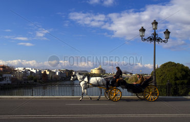 Beautiful river scene with tourist ride horse carriage of downtown city center of Seville or Sevilla Spain in sunshine