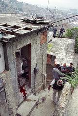 Urban violence in Rio de Janeiro  Brazil. Drug traffic war in shantytown. Death  murder  blood  police.