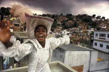 Preparation for samba schools parade. Mangueira slum. Carnival  Rio de Janeiro  Brazil.
