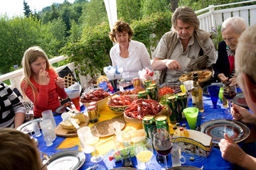 Sweden. North Sweden.Stode. Crayfish party.A crayfish party is a Nordic Country summertime eating and drinking celebration that originated in Sweden (where it is known as a kr_ftskiva). The parties are generally held during August  a tradition which star