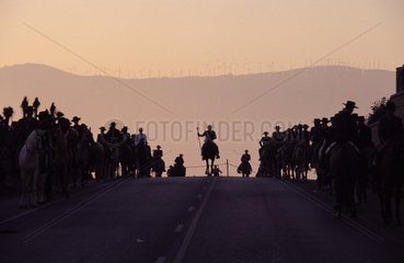 Tarifa the yearly procession of horsemen held in honor of La Virgen de la Luz enters the village at dusk