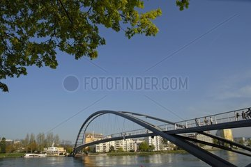 Bridge for bicycle and pedestrian spanning the Rhine