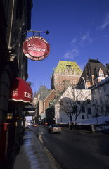 Rue Saint Louis Street with the Chateau Frontenac in Quebec City Quebec Canada