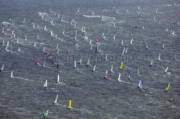 Texel  Ronde van Texel  Round Texel Race  the biggest regatta for Catamaran sailing boats. Aerial view of the race.
