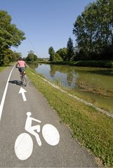 Cyclist on the Véloroute along the canal of Rhone to Rhine