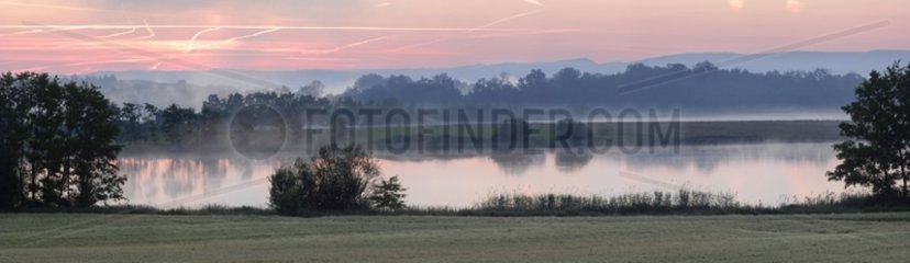 Pond at dawn Dombes Ain France