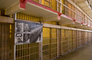 Row of cells and major prisoners of famous landmark Alcatraz Prison on bay island in San Francisco California