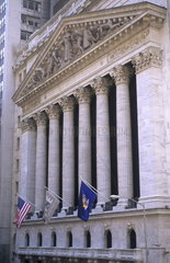 The beauty of the front of the New York Stock Exchange NYSE building on Wall Street in New York City USA