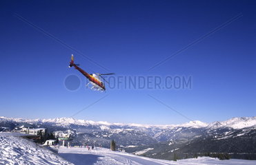 Helicopter skiing at famous ski town of Whistler in British Columbia Canada