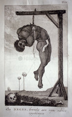 William Blake. Engraving from the book Narrative of a five years expedition against the revolted Negroes of Surinam by Captain John Gabriel Stedman  London 1796. A black man was hanged alive.