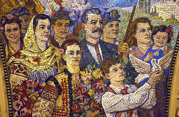 Moscow  USSR art in metrostation Kievskaja