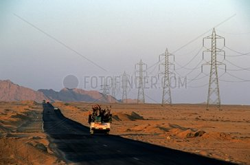 Bus taxi on a asphalt runway in the Sinai Desert Egypt