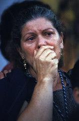 El Rocio pilgrims overwelmed by emotions by the sight of the virgin la paloma blanca