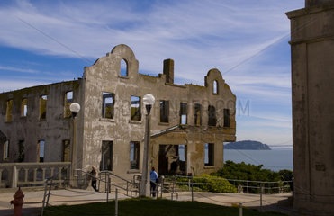 Decaying Wardens Home at the famous landmark Alcatraz Prison on bay island in San Francisco California