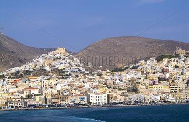 Beautiful Greek island of Siros Greece taken from ferry on water