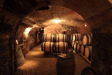 Barrels of wine in a cellar Bourgogne France