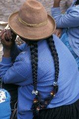 Braids of a woman Cuzco Region Peru