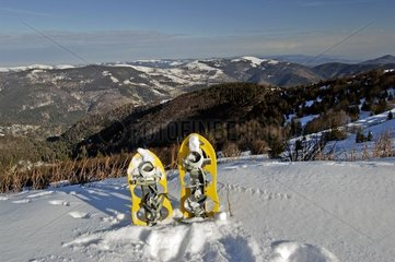 Rackets with snow posed on a top in winter France