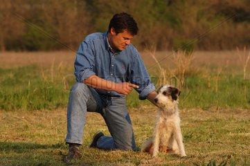 Homme dressant son chien