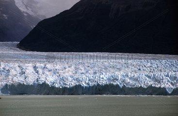 Front of the Perito Moreno glacier in sunlight Patagonia