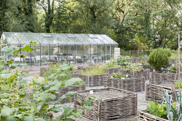 Greenhouse and square foot gardens with hazel wood weave
