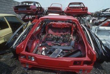 Scrap metal car bodies awaiting recycling Gloucester UK