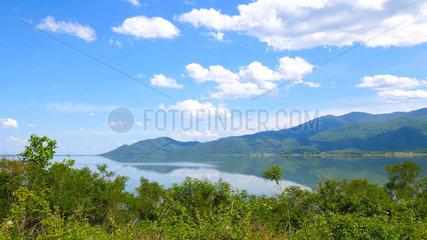 Mount Kroussia diving into Lake Kerkini  Central Macedonia  Greece