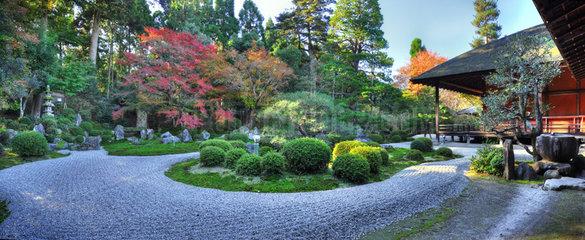 Garden at Manshu-in temple in autumn in Kyoto  Japan