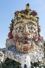 The Giants of Arcimboldo. Four monumental installations by the contemporary artist Philip Haas  inspired by the Four Seasons by Giuseppe Arcimboldo (1527-1583)  are presented at the Château des Baux-de-Provence. France