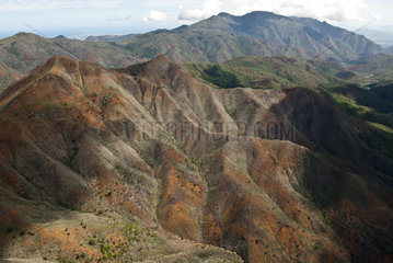 Aerial view of mountain devastated by a fire  Valley of the high Dumbea  Nature reserve integral of the Mountain of the Sources  New Caledonia.