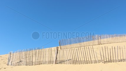 Lattice fence on the Pilat to fix the sand and slow the advance dune. The dune is in perpetual evolution and threatens the constructions and the surrounding forest (dune erosion)  Pyla-sur-Mer  Aquitaine  France