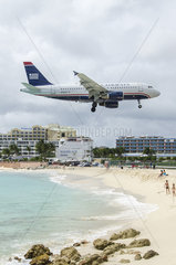 Airliner landing at Saint Martin airport  West Indies