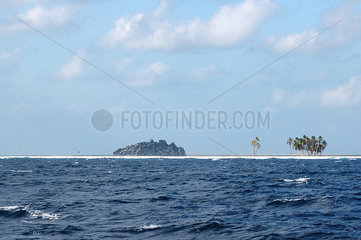 View of Clipperton Rock  the only visible part of the basaltic base supporting the atoll (2005 expedition)