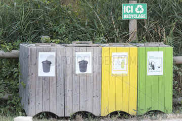 Containers for waste sorting  Camargue  France