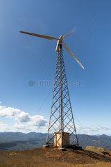 Wind turbine on ridge in New Caledonia.