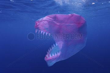 Plastic bag monster. Concept image. Composite image. Portugal. Composite image