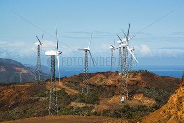 Wind turbines on ridge in New Caledonia.