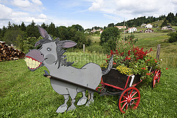 Decoration  flower cart pulled by a donkey  Belfahy  Haute Saone  France