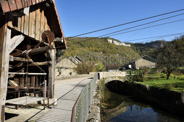 The milk cable car built in 1893 to lower the milk cans of the hamlet at altitude to the cheese factory  Seille river  Blois sur Seille  Jura  France