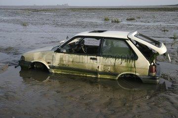 Dumped car in water Cumbria UK