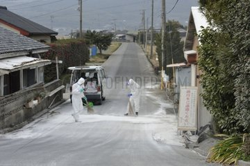 Disinfecting against bird flu in Japan