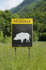 Information panel concerning the presence of wild animals in the town of Doussard  Haute-Savoie  France