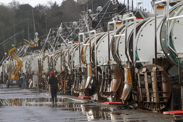 Reels of offshore trawlers in the port of Le Legue in Saint-Brieuc  Brittany  France