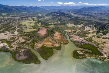 Mouth and mangrove of the west coast  Cape River  Town of Bourail. West Coastal Area World Heritage Site by Unesco. New Caledonia.
